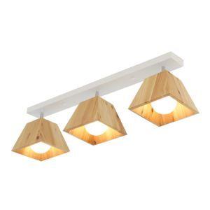 Nordic Wooden Spotlight Four Prism Rotatable Ceiling Spotlight