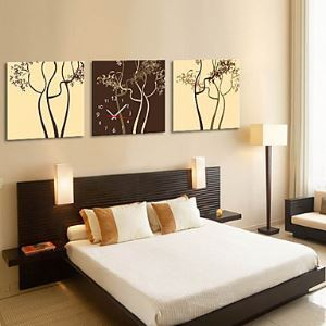 "12""-24"" Modern Style Tree Theme Wall Clock in Canvas 3pcs"