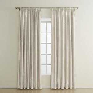 ( One Panel ) Beige Embossed Flame-retardant Blackout Curtains