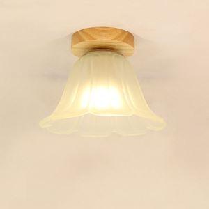 Nordic Flower Ceiling Light Semi Flush Mount Wooden Light Living Room Bedroom Study Lighting