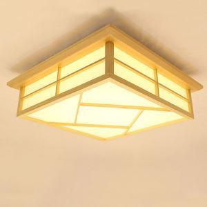 Creative Wooden Ceiling Light Japanese LED Ceiling Light Bedroom Study Lighting