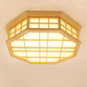 Japanese Octagon Ceiling Light Modern Wooden LED Ceiling Light Creative Bedroom Lighting
