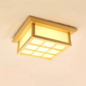 Japanese Simple LED Ceiling Light Modern Wooden Ceiling Light Balcony Aisle Lighting