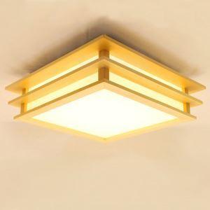 Nordic Cuboid LED Ceiling Light Wooden Ceiling Light Living Room Bedroom Study Lighting