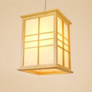 Modern Cuboid Pendant Light Japanese Solid Wood Pendant Light Bedroom Study Lighting