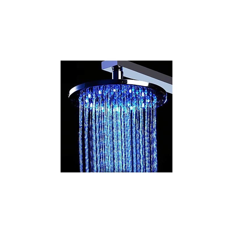 Faucets shower heads 12 inch brass shower head with - Bathroom faucets with led lights ...