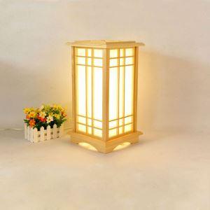 Square Cuboid Table Lamp Japanese Creative Floor Lamp Wooden Floor Standing Lighting