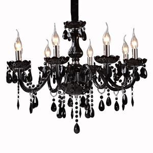 Black Crystal Chandelier with 8 Lights Black Chandelier