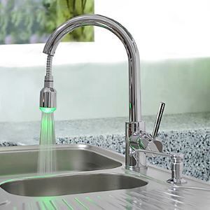 Brass Pull Down Kitchen Faucet with Color Changing LED Light