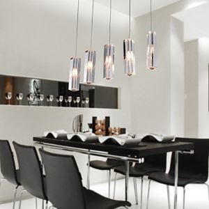 Ceiling Lights Stainless Steel 5-Light Mini Bar Pendant Light with K9 Crystal ball Drop