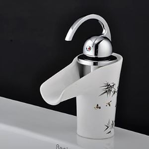 Elegant Waterfall Bathroom Sink Faucet with Ceramic Spout