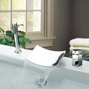 Chrome Finish Contemporary Waterfall Single Handle Widespread Tub Faucet With Handshower