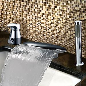 Chrome Finish Contemporary Widespread Waterfall Single Handle Tub Faucet With Handshower