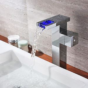 Chrome Finish Single Handle Color Changing LED Waterfall Bathroom Sink Faucet(Tall)