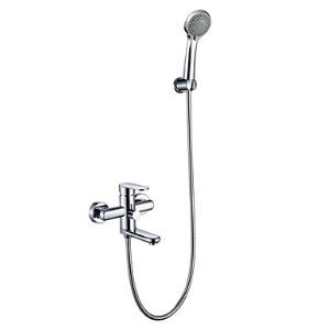 Chrome Finish Tub Faucet with Round Hand Shower (Wall Mount)