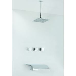 Chrome Finish Tub Shower Faucet with Rain Shower Head (Wall Mount)
