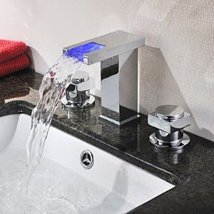 Chrome Finish Two Handles Color Changing LED Waterfall Widespread Bathroom Sink Faucet