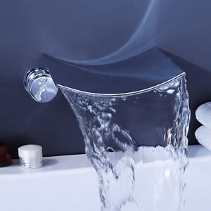 Contemporary Chrome Finish Waterfall Bathtub Faucet ( Wall Mount )