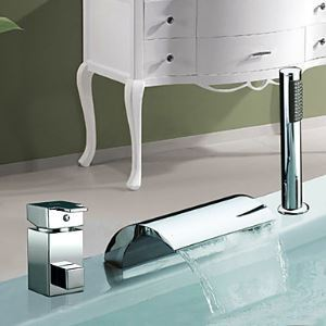 Chrome Finish Waterfall Widespread Single Handle Contemporary Tub Faucet With Handshower