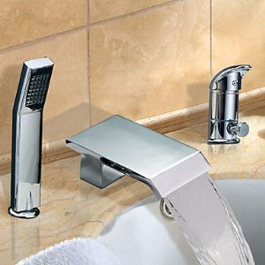 Chrome Finish Widespread Single Handle Contemporary Waterfall Tub Faucet With Handshower