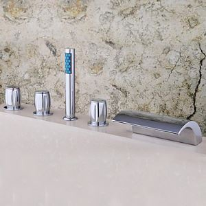 Chrome Two Handles Waterfall Widespread Tub Faucet