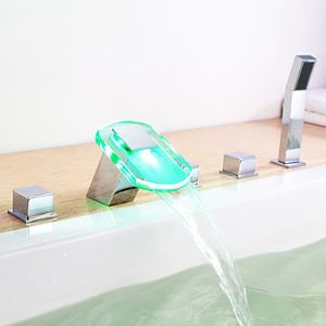 Color Changing LED Hydropower Waterfall Tub Faucet with Hand Shower - Chrome Finish