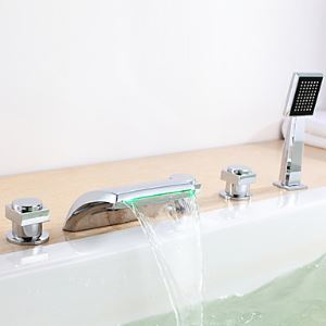 Color Changing LED Hydropower Waterfall Tub Faucet with Hand Shower - Set of 5