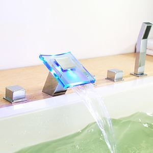 Color Changing LED Hydropower Waterfall Widespread Tub Faucet - Chrome Finish