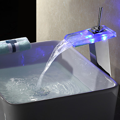 Color Changing Led Waterfall Bathroom Sink Faucet Chrome