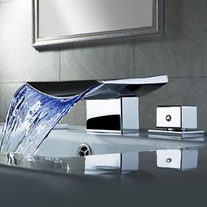 Color Changing LED Waterfall Widespread Bathroom Sink Faucet (Chrome Finish)