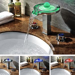 Color Changing LED Bathroom Sink Tap Waterfall Widespread Bathroom Sink Faucet (Chrome Finish)