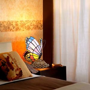 Tiffany Style Table Light with Butterfly Patterned Shade