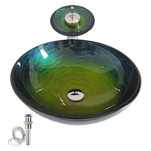 Colorful Round Tempered glass Vessel Sink With Waterfall Faucet ,Pop - Up drain and Mounting Ring