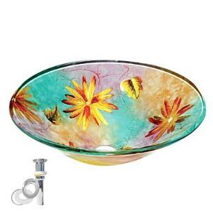 Colourfull Round Tempered Glass Vessel Sink With Pop up and Mounting ring