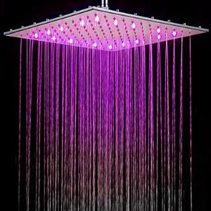 Contemporary 3 Colors Changing LED Chrome Shower Faucet Head of 16 inch