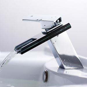 Contemporary Blue Glass Waterfall Bathroom Sink Faucet(Chrome Finish)