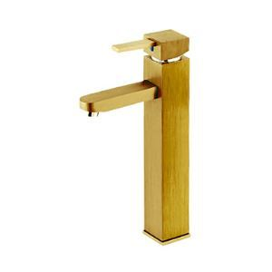 Contemporary Centerset Golden Square Bathroom Sink Faucet (Tall) - Painting Finish