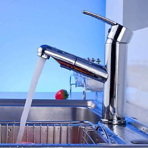 (In Stock) Contemporary Chrome Finish Pull Out Single Handle Bathroom Sink Faucet