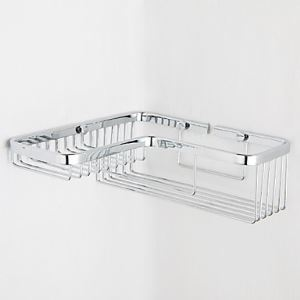 Contemporary Chrome Finish Right Angle Wall-mounted Soap Basket