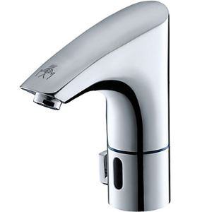 Contemporary Chrome Finish Sensor Thermostatic Hands Free Bathroom Sink Faucet(Hot and Cold)