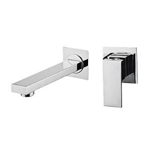 Contemporary Chrome Finish Single Handle Wall Mount Widespread Bathroom Sink Faucet