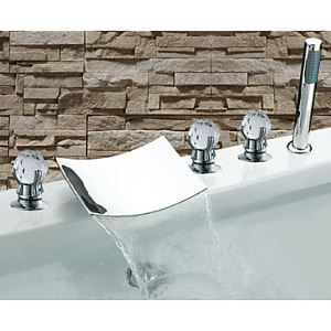 Contemporary Chrome Finish Three Handles Waterfall Bathtub Faucet with Hand Shower