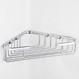 Contemporary Chrome Finish Triangle Single Layer Wall-mounted Soap Basket