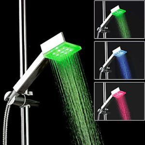 Contemporary Chrome Square Color Changing LED Hanldheld Shower head