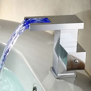 Contemporary Color Changing LED Bathroom Sink Faucet Waterfall Basin Tap