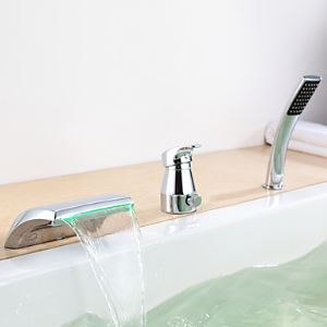 Contemporary Color Changing LED Hydropower Tub Waterfall Faucet with Hand Shower