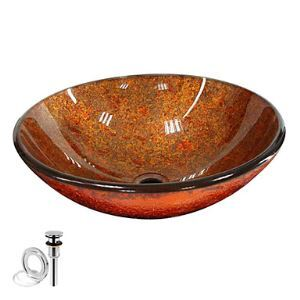 Contemporary Round Tempered Glass Finished Vessel Sink With Pop up and Mounting ring