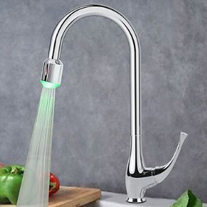 Contemporary Solid Brass Chrome Finish Color Changing LED Kitchen Faucet