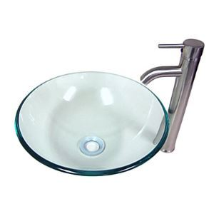 Contemporary Transparent Tempered Glass Round Bathroom Sink With Faucet and Water Drain and Mounting Ring