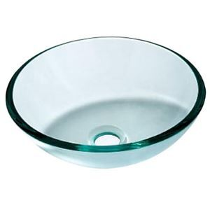 Contemporary Transparent Tempered Glass Round Bathroom Sink